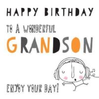 pink pig - happy birthday grandson - card